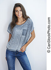 Girlish female and very casual clothing