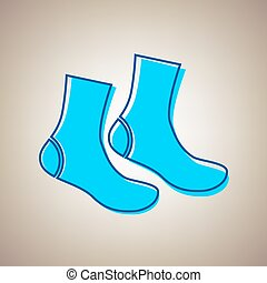 Socks sign. Vector. Sky blue icon with defected blue contour...