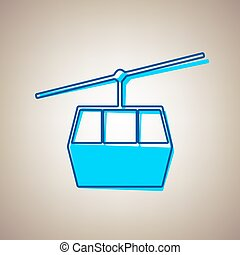 Funicular, Cable car sign. Vector. Sky blue icon with...