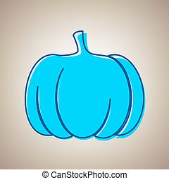 Pumpkin sign. Vector. Sky blue icon with defected blue contour on beige background.