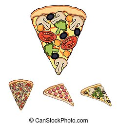 A slice of pizza with different ingredients. Different pizza set collection icons in cartoon style vector symbol stock illustration web.