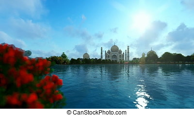 Taj Mahal with beautiful lake reflections, view from Yamuna...