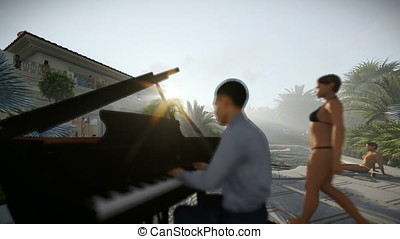 Pool party with piano player against sun rays, tilt