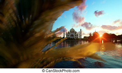 Taj Mahal, view from Yamuna River, aircraft passing against...