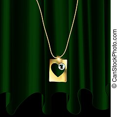 green drape and golden pendant - dark background, green...