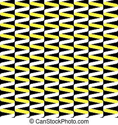 Seamless spiral ribbon wave pattern in yellow, black and white.