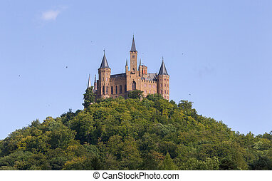 Aerial view of famous Hohenzollern Castle, ancestral seat of...
