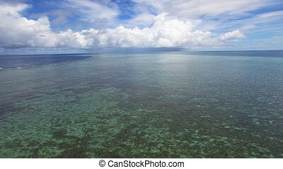 Wide shot of ocean's horizon - A wide shot of the sea and...