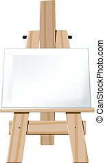 Easel - Wooden easel with blank canvas face directed towards...