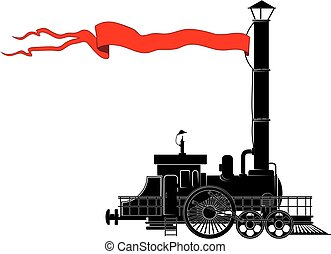 vintage locomotive - An old steam locomotive with a red...