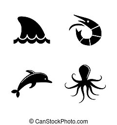 Marine life. Simple Related Vector Icons