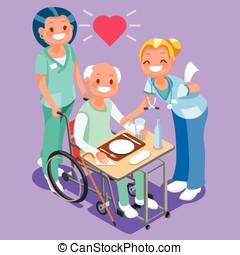 Nurses Group of Doctors Team Isometric People - Nurses or...