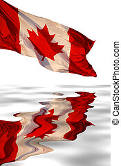 Canadian flag reflects in water