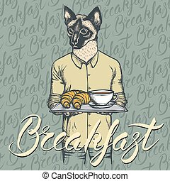 Vector Illustration of cat with croissant and coffee -...