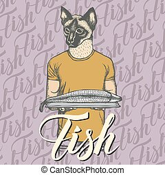 Vector cat with fresh fish illustration. Vector food concept