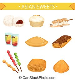 Asian sweets set, traditional desserts of different cuisines...