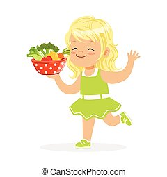 Sweet blonde little girl running with bowl full of vegetables, kids healthy food concept colorful vector Illustration