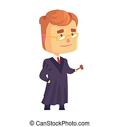 Judge man character in a black robe standing and holding judges gavel cartoon vector Illustration