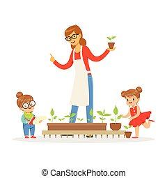 Little girl and boy helping their teacher to care for plants during botany lesson in kindergarten cartoon vector Illustration