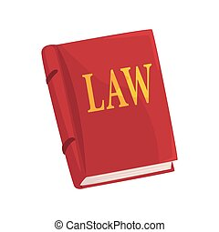 Red law book cartoon vector Illustration on a white...