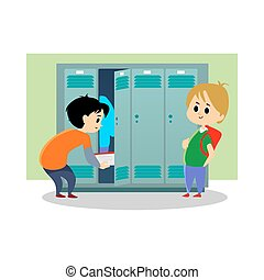 Children boys near lockers in the locker room of the school dress up and put their personal belongings and books for study in open doors, school hallway and campus life vector illustration