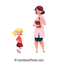 Woman doctor and little girl, medical exam - Woman doctor,...