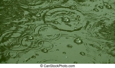 rain drops in the slowed-down action.  slowmotion. soud
