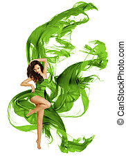 Dancing Fashion Model, Woman Modern Dance, Waving Green Dress Flying Fabric, on White Background