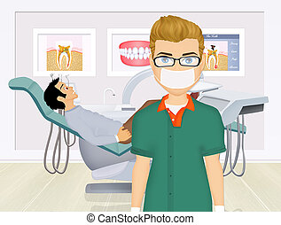 Dentist doctors office and patient with toothache -...