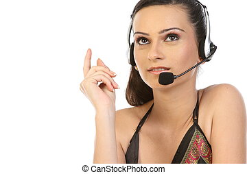 Customer Representative with headset smiling during a...
