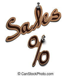 sales word and percent sticker over a white background