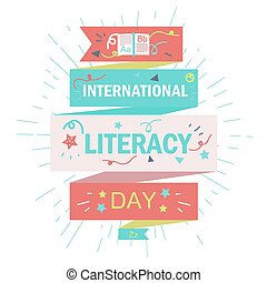 International Literacy Day Celebration Banner With Book....