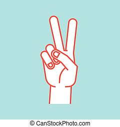 Gesture. Stylized hand in the form of V letter. Victory....