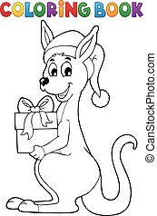 Coloring book Christmas kangaroo - eps10 vector...