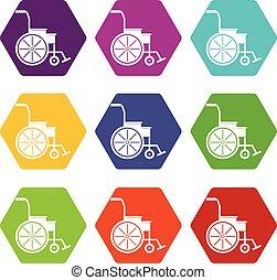 Wheelchair icon set color hexahedron - Wheelchair icon set...
