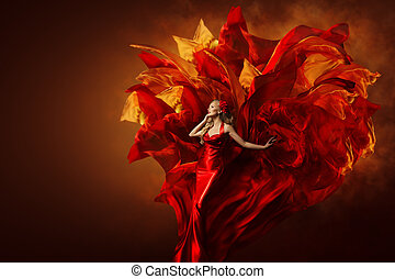 Woman Art Dress, Beautiful Fashion Model in Artistic Red Gown, Waving Flying Fabric Explosion