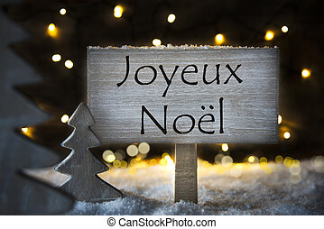 White Tree, Joyeux Noel Means Merry Christmas - Sign With...