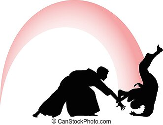 Silhouette of Aikido masters, leading the fight in training...