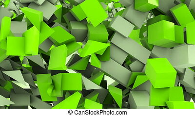 Flying cubes animation background, computer generated...