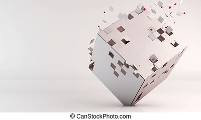 3d cube polygon transformation, geometric abstract...