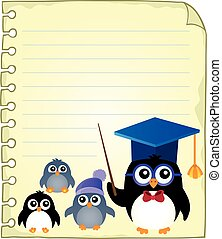 Notepad page with school penguins