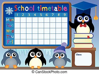 School timetable with penguins - eps10 vector illustration.