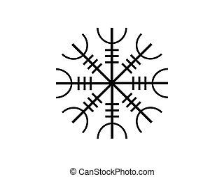 Galdrastafir. Icelandic symbol, intertwined runes. Vector...