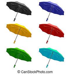 The set umbrella. Isolated on white