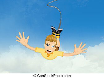 man doing a bungee jumping - illustration of man doing a...