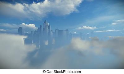 City skyline above clouds, dolly shot
