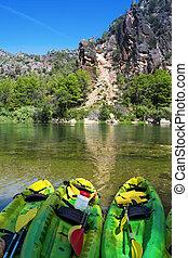 kayaks at the Ebro River in Benifallet, Spain - some kayaks...