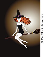 Girl witch on broom in night background