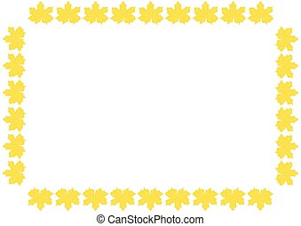 square frame with leaves on a light background