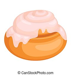Bread roll covered in frosting isolated illustation on white...